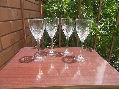 4 Quality  Bohemian Crystal Sherry Glasses