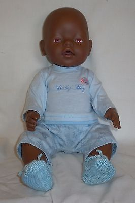 Zapf Baby Born with Clothes - African, Black Baby - VGC Pink Eyes
