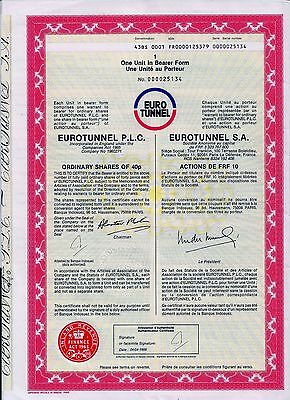 EUROTUNNEL S.A, Paris  (1 Action = 10 FRF / 40p) + Coupons 4-18 ohne Stempel !