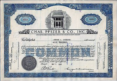Chas. Pfizer & Co. Inc., New Jersey, 1945 - die Pharma-Aktie (5.000 Shares) !!