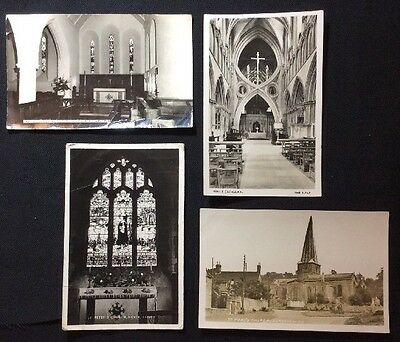 Four Church Views On Real Photograph Postcards