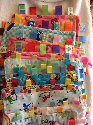 job lot 12 baby taggy comfort blankets.