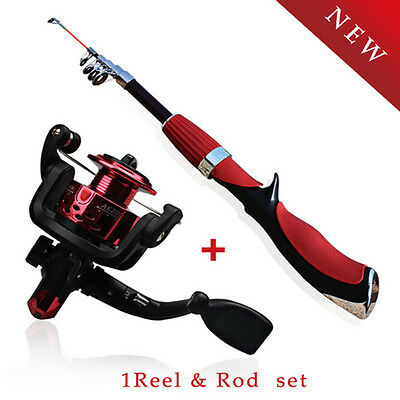 Telescopic Travel Fishing Rod with Spin Casting Fishing Reel Tackle Combos Set