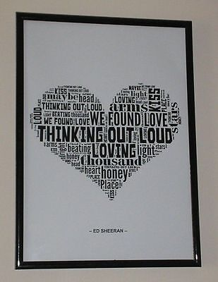 Ed Sheeran Thinking Out Loud Lyric Wall Art Print A4 *free Postage*