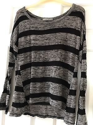 Atmosphere Ladies Womans Size 12 Striped Grey And Black Jumper