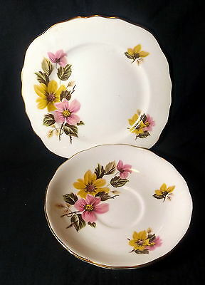 Royal Vale Sideplate & Saucer White With Gold Trim With Yellow & Pink Flowers.