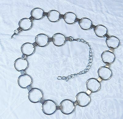60S Gogo Belt Silver Metal Round Rings Links Disco Party Festival Chic