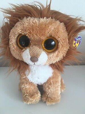 """New Rare & Retired Ty Beanie Boo King Lion 10"""" Buddy Soft Plush Toy"""