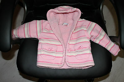 Baby girl warm pink coat jacket hooded size 6-12 months