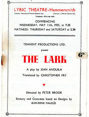 1955 Programme Of The Lark By Jean Anouilh