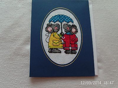 large completed cross stitch card cute mice