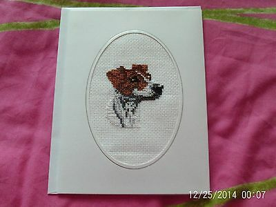 large completed cross stitch card jack russel