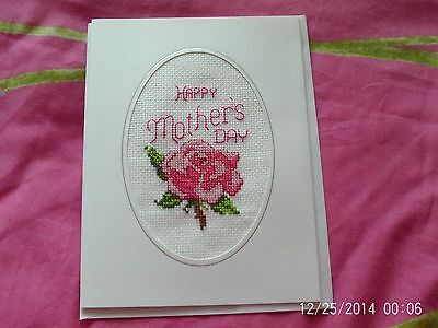 large completed cross stitch card mothers day
