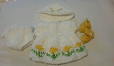 """Reborn dress, knickers, hat and booty set size 6""""-7"""" doll"""