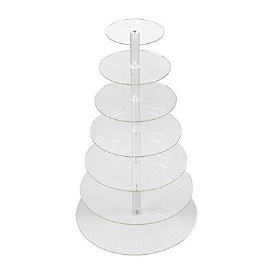 Transparent Detachable 7 Tier Circle Acrylic Cupcake Party Wedding Cake Stand E1