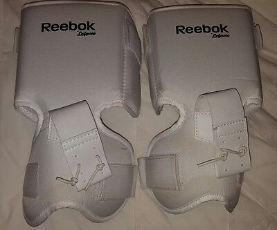 Reebok hockey goalie knee thigh guards senior white goal pads