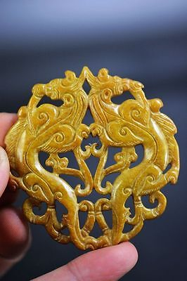 Excellent old jade carved Two-sided dragon lucky pendant JP195