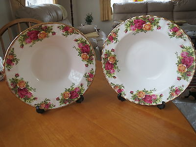 2 Royal Albert Old Country Roses Rimmed Soup Bowls 1St Mint Unused