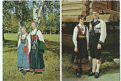 NORWAY, NATIONAL COSTUME, 10 VINTAGE POSTCARDS, c1980. MINT CONDITION