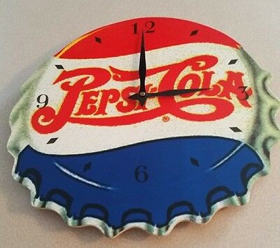 Old Style Pepsi Cola Bottle Top  Clock - Wooden - Works!