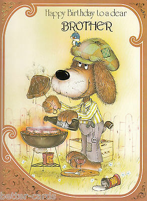 Vintage Happy Birthday Brother 1970s Vintage Large Greeting Card ~ Barbeque Dog