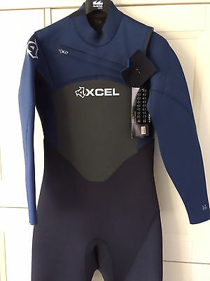 Xcel 5mm Axis Wetsuit XZip2 Chest Zip Black Blue NEW 5/4mm Sale Winter Steamer