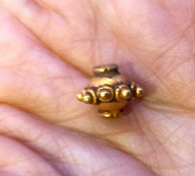 Aciennt PYU Sacred Spindle Whorl Eyes Thorns Intricate Old Solid Gold 22K Bead