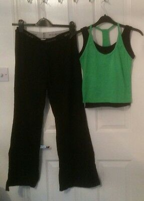 Anniluce Gym Fitness Ladies Bundle Outfit Trousers Black Green Top Size 10 S