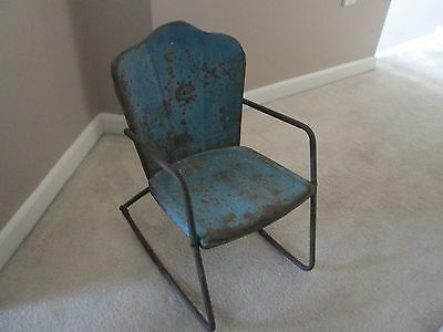 Antique Child's Metal Rocking Chair - Shell Back - Rusty Gold - Original Paint