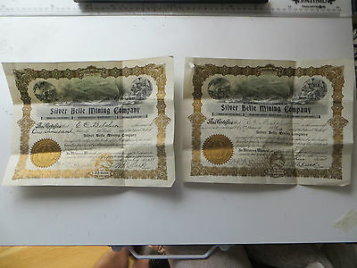 SILVER BELLE MINING COMPANY. Pair of Share Certificates. Dated 1911