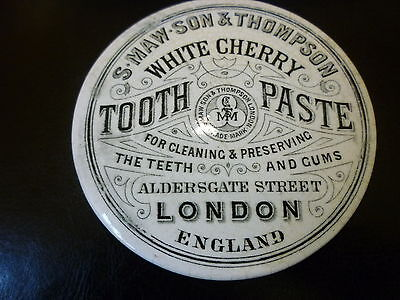 Victorian S Maw And Son White Cherry Toothpaste Pot Lid.