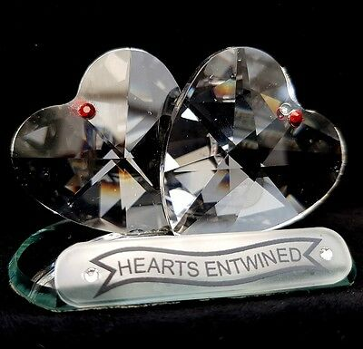 Cut Crystal Hearts Entwined Valentine Love Ornament