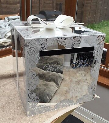 White Bow And Lace Mirror Acrylic Wedding Post Box.... Lockable... Stunning Item