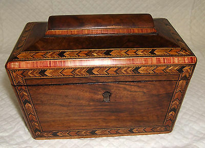 Antique Marquetry Inlaid Wooden  Jewellery Box Tea Caddy No Lock