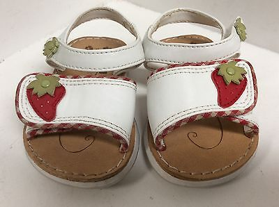 Circo infant girls shoes toddler size 3 white brown red strawberry sandals 137