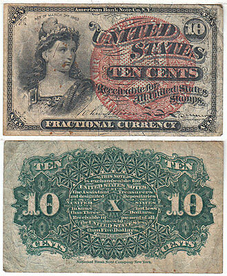 Fractional Currency 4th Issue 10 Cent Fine FR 1259 Blue End Large Seal