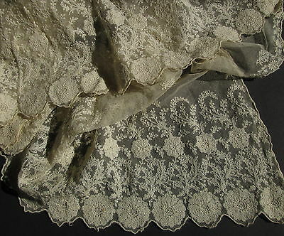 NET LACE ANTIQUE VEIL Tambour Embroidery Wedding Shawl Scarf Victorian Edwardian