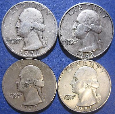 U.S. Silver coin lot 90% silver, $1.00 face value.(4xQDMM)