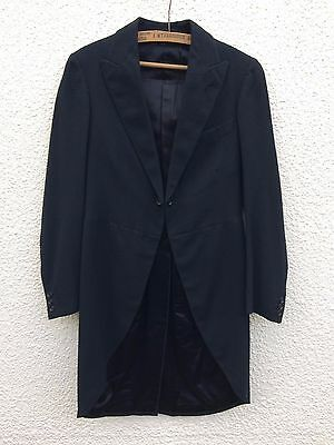 "Vintage 1940's Black Wool Tails Frock Coat 32"" Liverpool"