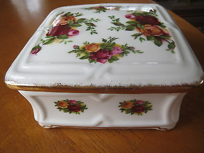Royal Albert Old Country Roses Rare Square Lidded Box 1St Mint Unused