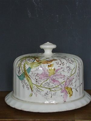vintage antique ceramic/pottery butter/ cheese/cake dish/ flowers