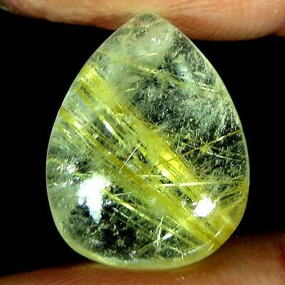 7.65Cts. AAA 100% NATURAL GOLDEN RUTILE QUARTZ PEAR CABOCHON BRAZIL GEMSTONES