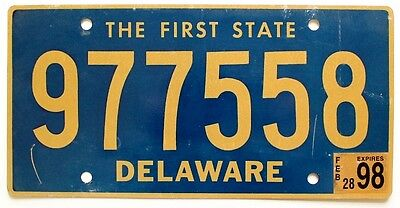 """Delaware February 1998 """"The First State"""" License Plate, Natural, Blue-Gold"""