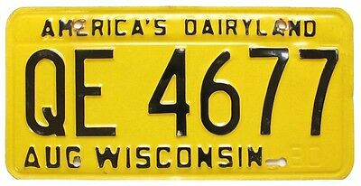 Vintage Yellow Wisconsin 1980 License Plate. QE 4677, Nice Quality