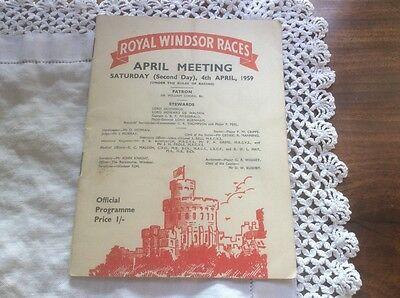 RARE OPPORTUNITY -1959 ROYAL WINDSOR - Race Card April Meeting