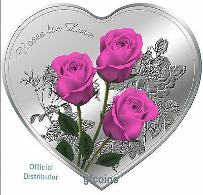 2017 Roses For Love Heart-Shaped Silver Tokelau Coin