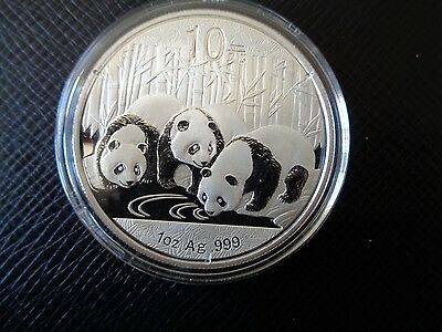 China 2013 10 Yuan Silver Panda - 1 Oz. .999 Fine With Original Capsule