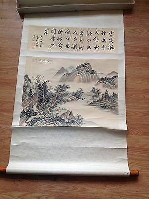 Antique Japanese Scroll Watercolor Painting