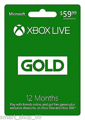Microsoft Xbox 360/One/S Live Gold 12 Month