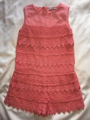 Mayoral Playsuit. Age 8. Coral.Lace. New.
